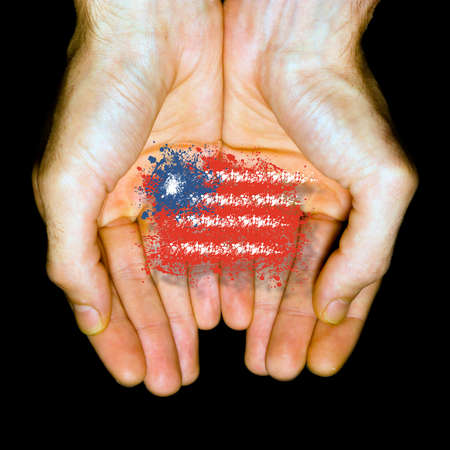 Made in United States, country flag in two hands