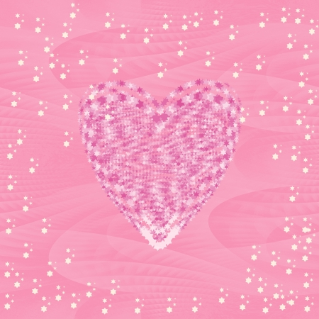 Festive Valentine wrapping paper with little stars and heart on pink ice seamless background photo