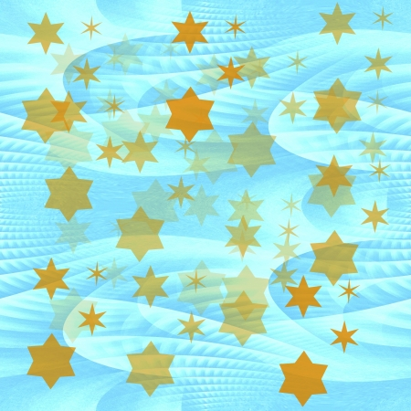 Dreamy romantic decoration wrapping paper with yellow stars on seamless tileable blue abstract ice backgroun photo