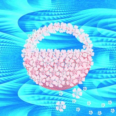 Decorative wedding, birth day or Valentine basket on blue ice tileable seamless background photo