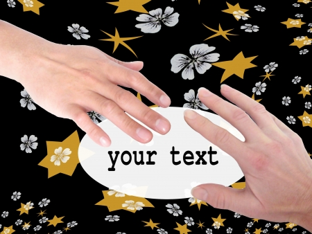 creativ: Real right hands of two people holding card with place for short text on the decorative background with flowers and stars