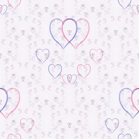 light blue, violet and pink hearts on white background in tileable ornamental symetric pattern photo