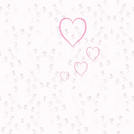 babygirl: Pink hearts on white background in tileable ornamental pattern Stock Photo