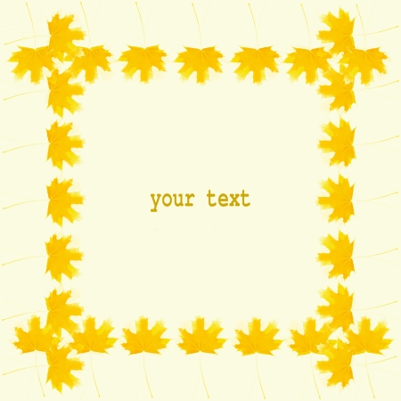 tabernacles: Autumn frame of dark yellow real maple leaves on bright yellow background with a place for your text