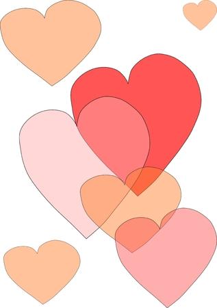 adoring: Valentine hearts on white background  Illustration