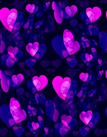 gauzy: Seamless tileable hearts on dark blue background Stock Photo