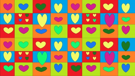 Funny colored hearts on varied squared background photo
