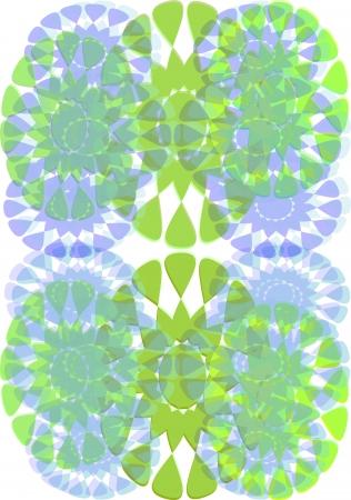 装飾的な背景に緑および青様式化された花