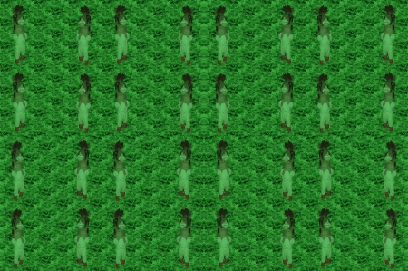 shamanic: Childrens figure in horse mask on tileable regular green background