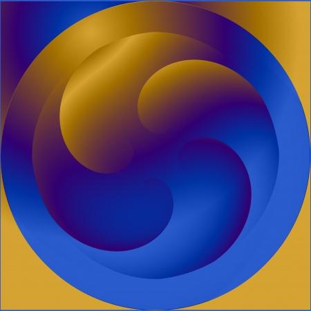 metallized: Yellow blue metallized abstract round