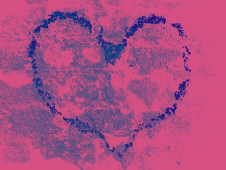 Blue heart on pink background with brick texture Stock Photo