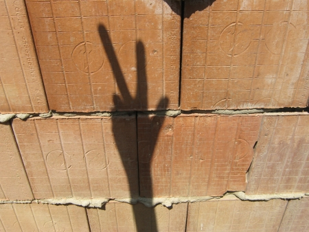 porous brick: Shadow hand makes signs on unplastered porous brick wall
