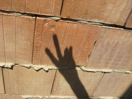 occultism: Shadow hand makes signs on unplastered porous brick wall