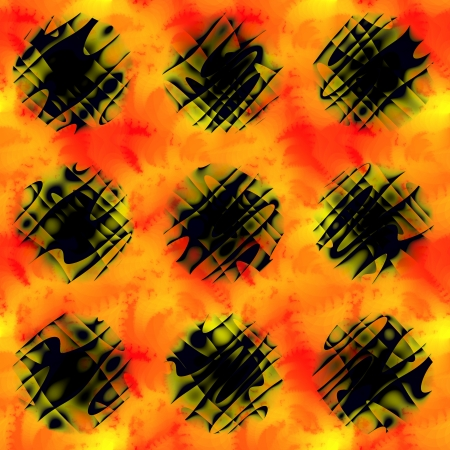 none: None abstract black circles on red orange yellow background