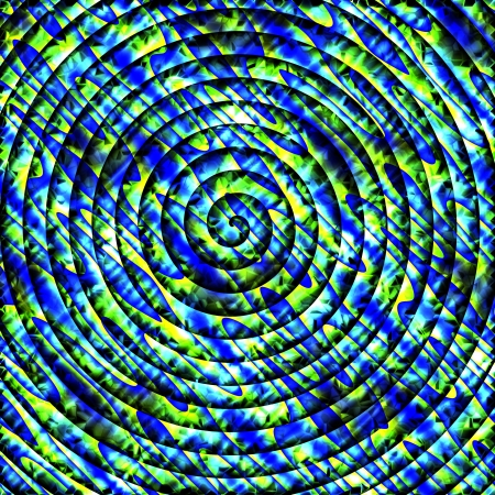 vague: Yellow blue dense spiral background Stock Photo