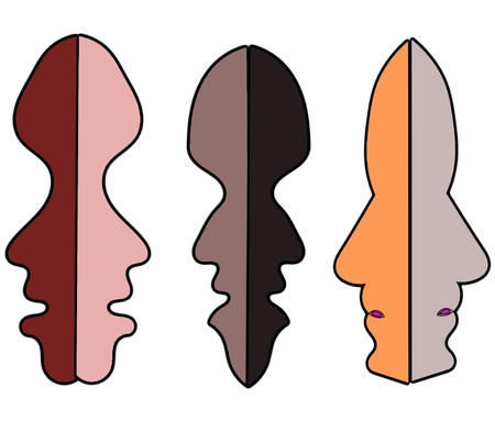 Three colorful faces in communication