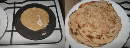unleavened: Homemade unleavened cakes baked on plate