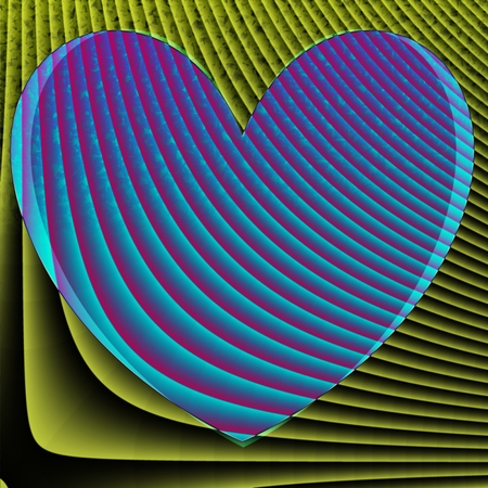 Abstract square background with heart motif in blue, yellow, pink and black pastel tones photo