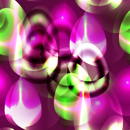 Abstract tileable pattern with Easter eggs in green and purple tones photo
