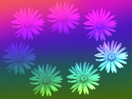 mingled: stylized wreath of dandelions mingled with iridescent color transition Stock Photo