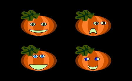 disgusted: Funny pumpkins on black Stock Photo