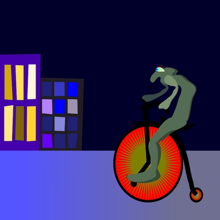 velocipede: Alien on velocipede in night