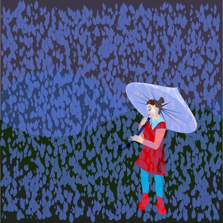 torrential rain: girl in rain