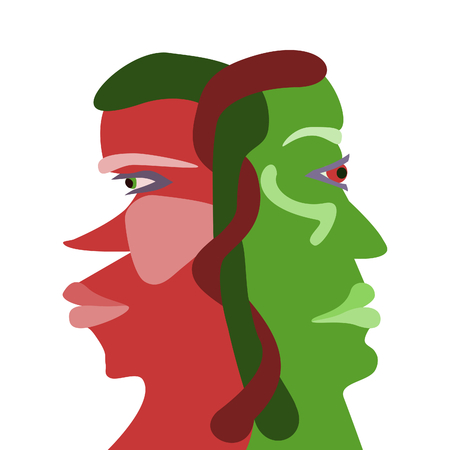 Red and green interdependences face profiles
