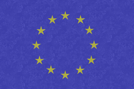 snowflacke: Flag of the European Union covered with frost Stock Photo