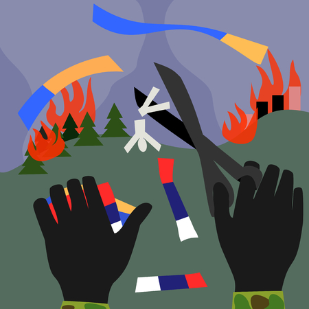 gloved hands cut with scissors Russian and Ukrainian flag