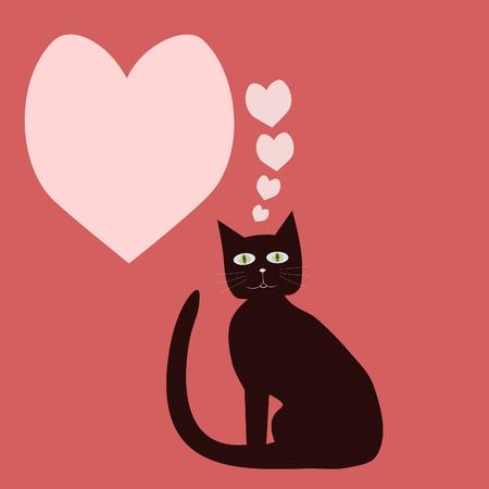 Communication bubble heart - brown green-eye cat