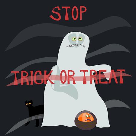 caroling: Stop trick or treat - horrified specter