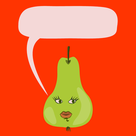 peristalsis: Communication bubble - green pear Stock Photo