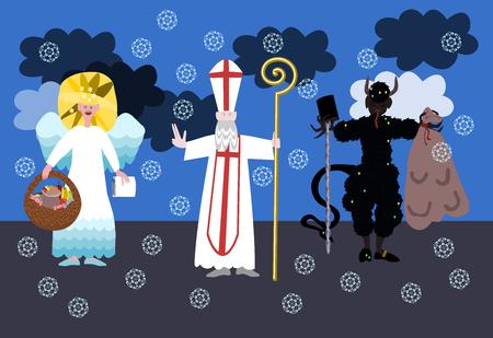 saint nicholas: San Nicol�s, diablo y �ngel - popular checa la tradici�n de navidad