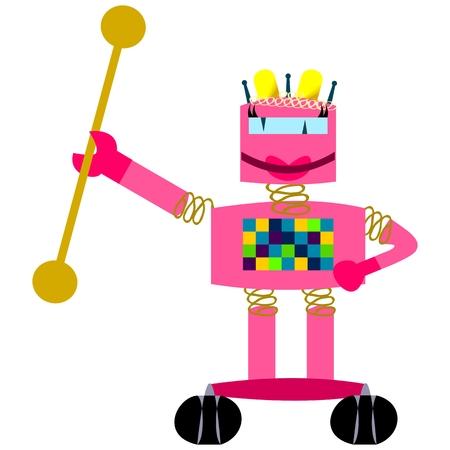 robot girl: Pink smiling robot - girl majorette Illustration