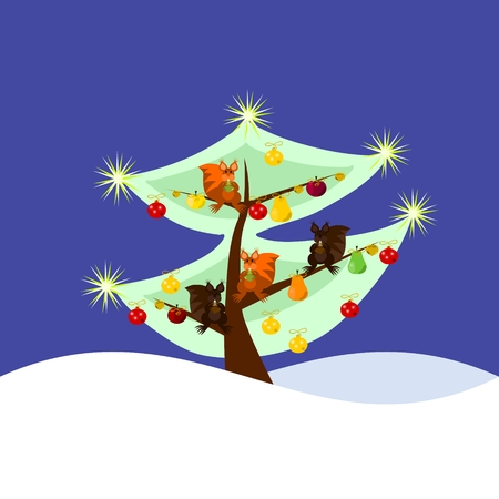 Squirrels on decorated chritsmas tree Vector