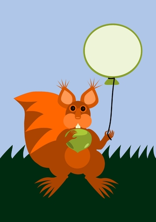 Red squirrel holding balloon with empty place for note