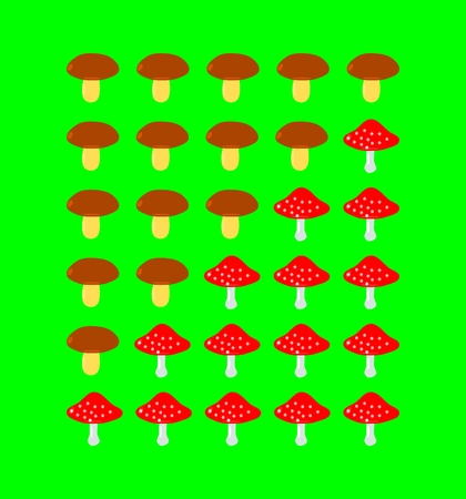Mushrooms rating scale on green background Vector