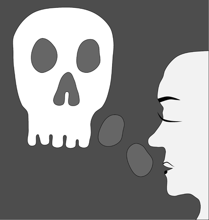 enmity: Feeling concept depression - face profile with scull Illustration