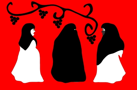 Three beautiful women in veil Vector