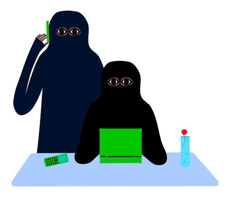 niqab: Two Muslim women at a table with a cell phone and laptop Illustration