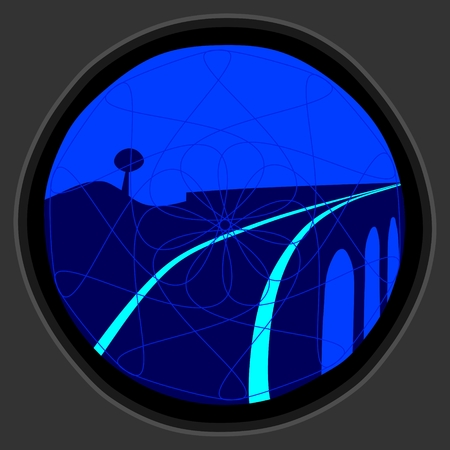 railway signal of gray metal with blue light - warning before entering the bridge Vector