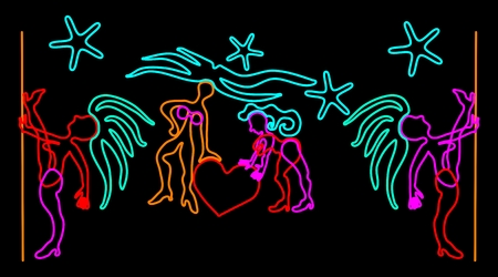 pole dancer:  neon stylized dancer figures Illustration