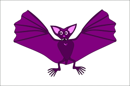 samhain: Cute violet flying bat Illustration