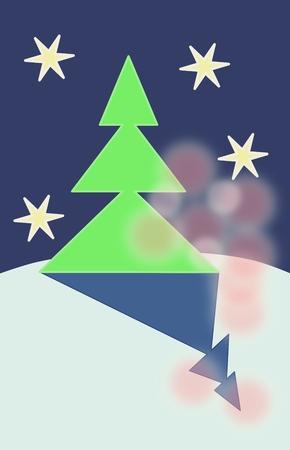 drift: Green tree on snowy drift in night with blurred bokeh