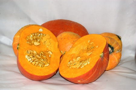 bisected: Bisected pumpkin Stock Photo