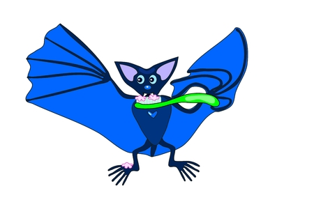 samhain: Cute blue bat brushing teeth Illustration