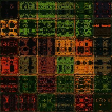 lucidity: Orange and green shining through glass bricks