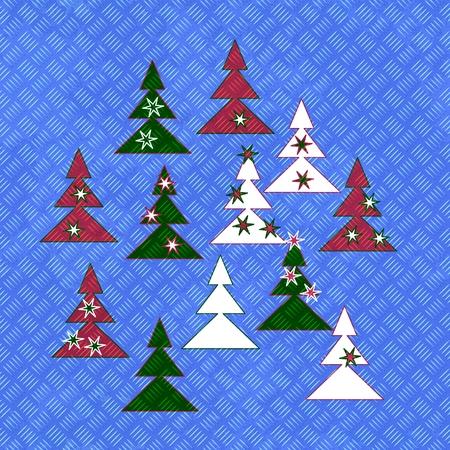Seamless painted metal plate - christmas pattern on generated diamond metalplate texture photo
