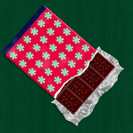 hankering: Dark chocolate in unwraped packing with christmas decorative pattern